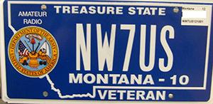 NW7US, Tomas - Older Montana Army Veteran License Plate