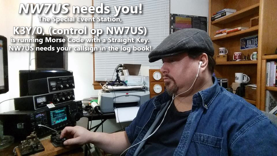 Tomas, NW7US - operating Morse code as special event station, K3Y/0